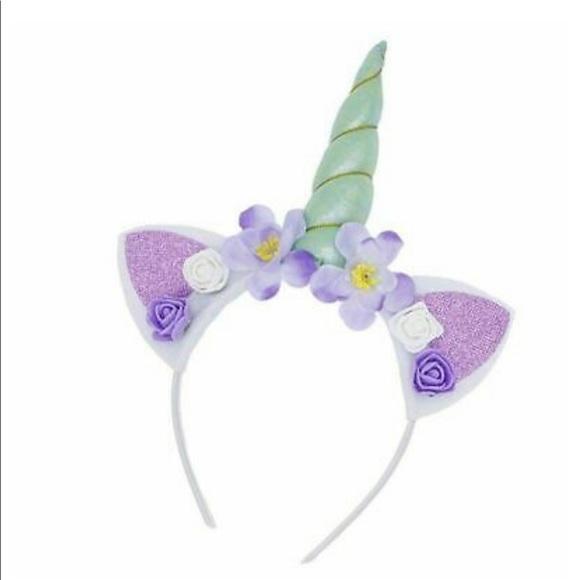 Other - 🦄SOFT GREEN Unicorn Horn Flower Headband Caticorn
